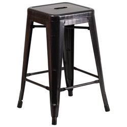 Avenue Black Antique Gold Industrial Counter Stool