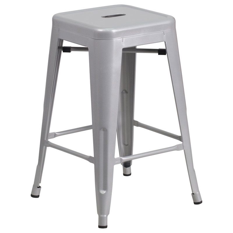 Avenue Silver Industrial Counter Stool