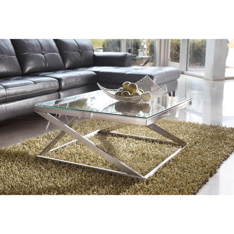 Axis Contemporary Brushed Nickel Coffee Table