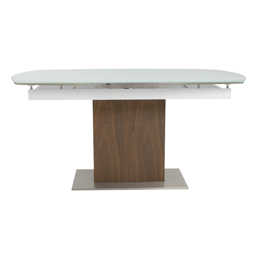 Ayana Frosted Glass + Walnut Contemporary Extension Dining Table