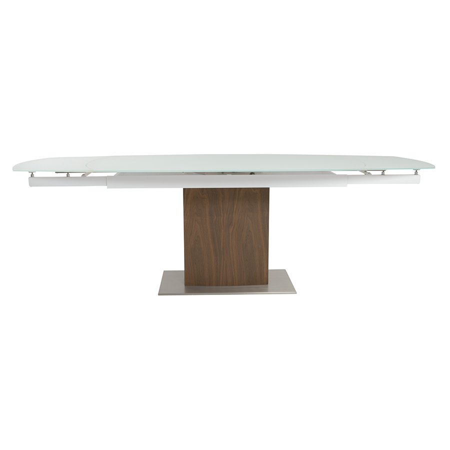 Ayana Frosted Glass + Walnut Modern Extension Dining Table