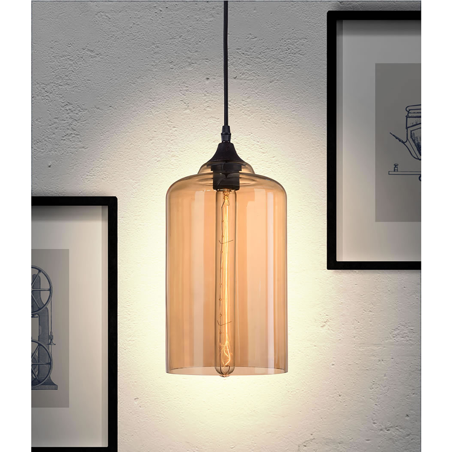 Benedict Amber Glass Modern Ceiling Lamp