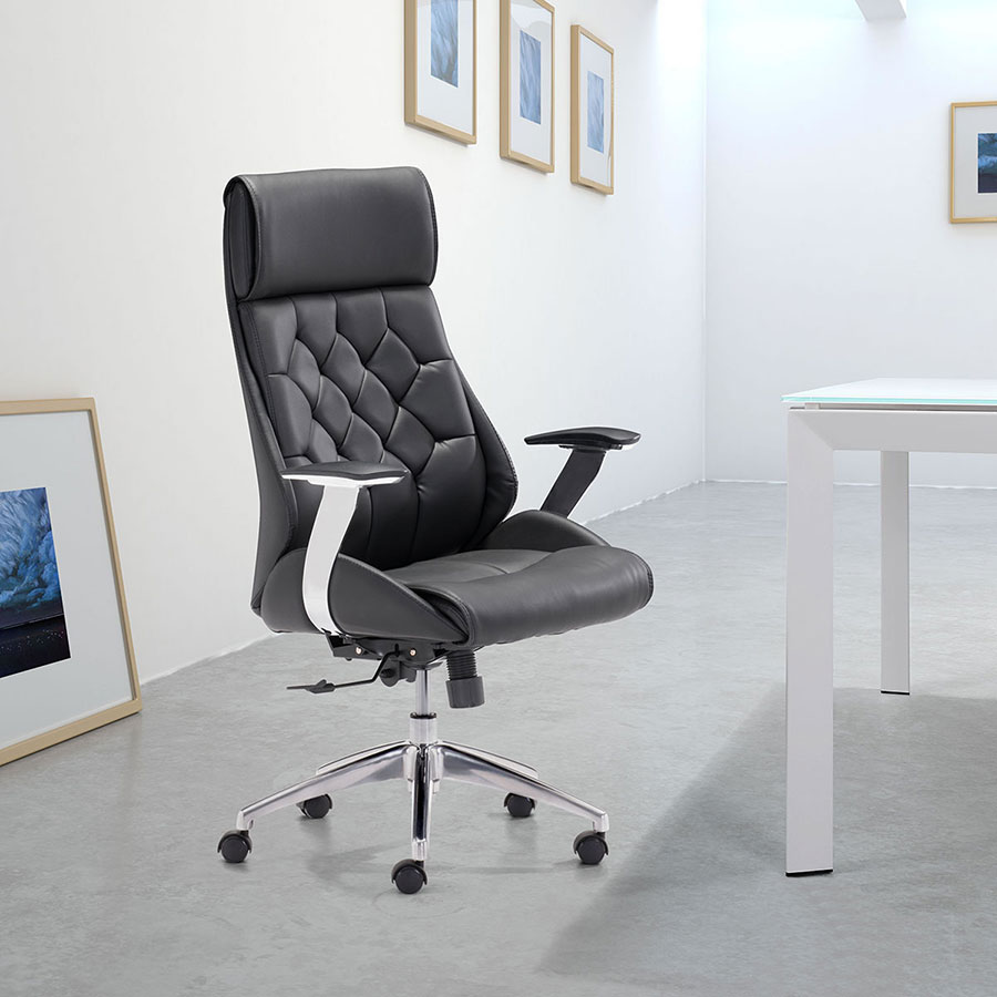 Benoit Black Leatherette + Chrome Modern Office Chair
