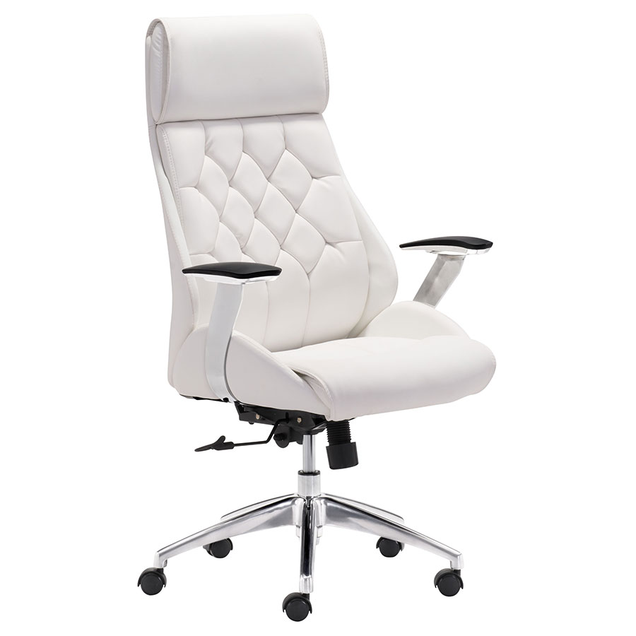 Benoit White Modern Office Chair