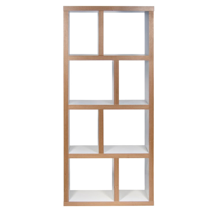 Berlin 4 Levels 70 CM Contemporary White + Ply Bookcase Front
