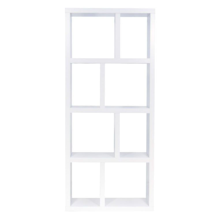 Berlin 4 Level 28 Inch White Contemporary Bookcase Storage Front