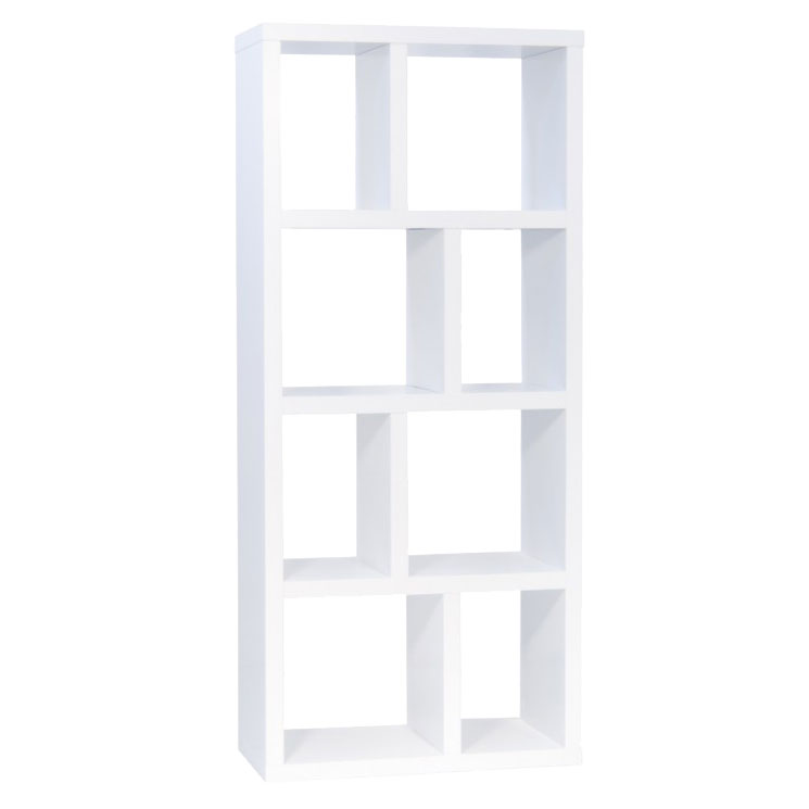 Berlin 4 Level 28 Inch White Contemporary Bookcase Storage