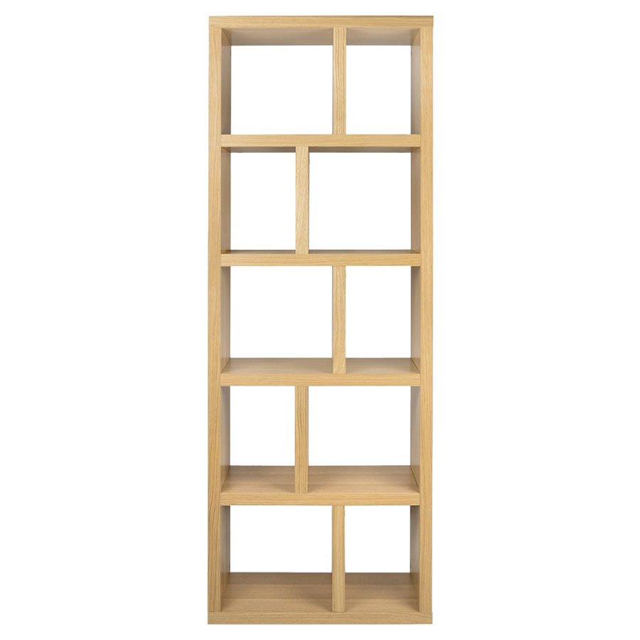 "Berlin 5 Levels 28"" Oak Contemporary Bookcase Front"