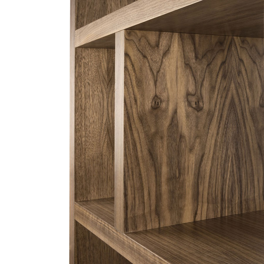"Berlin 5 Levels 28"" Walnut Contemporary Bookcase Detail"