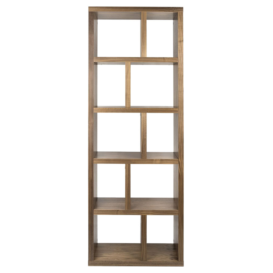 "Berlin 5 Levels 28"" Walnut Contemporary Bookcase Front"