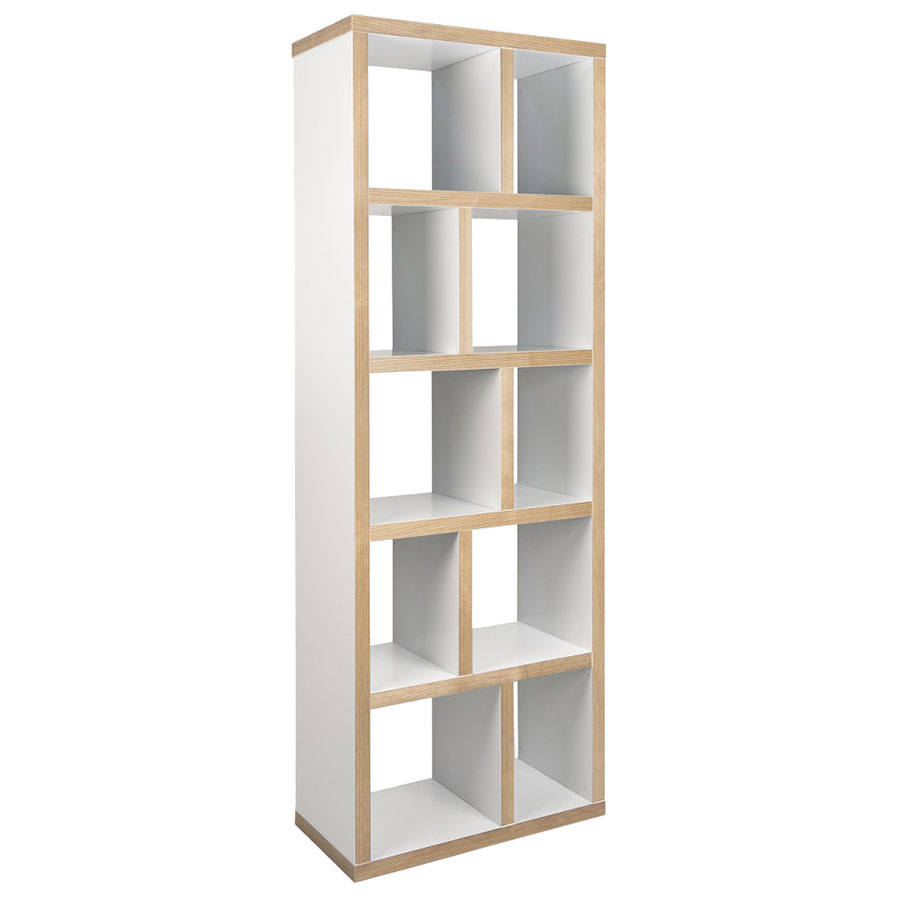 "Berlin 5 Levels 28"" White + Natural Contemporary Bookcase"