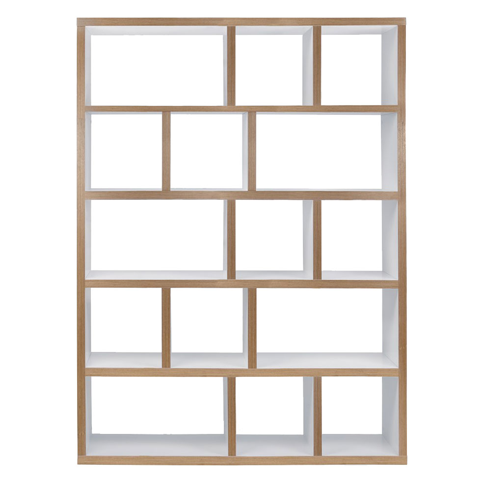 Berlin 5 Levels 150 CM White + Ply Contemporary Bookcase Front