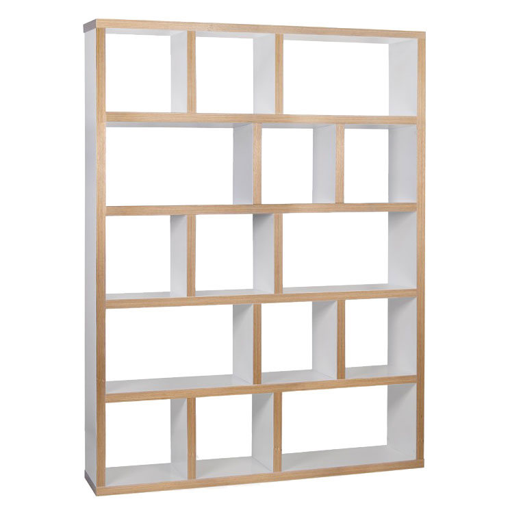 Berlin 5 Levels 150 CM White + Ply Contemporary Bookcase