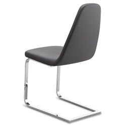 Berna Chrome + Gray Modern Side Chair