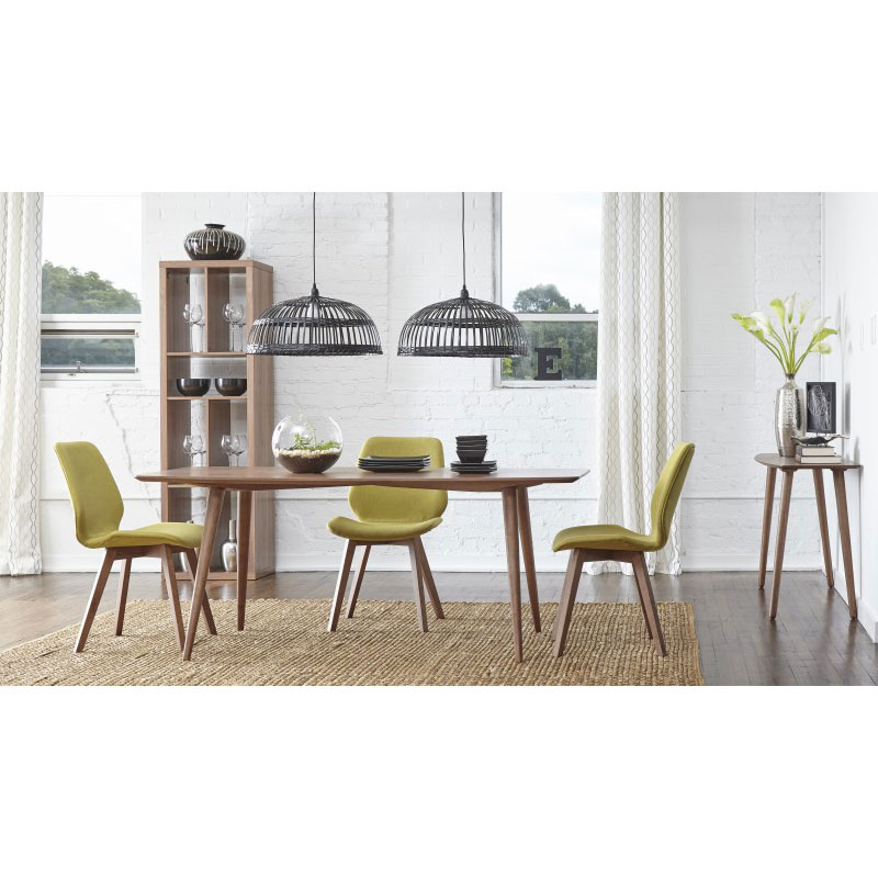 Bernard Dining Collection with Green Dining Chairs