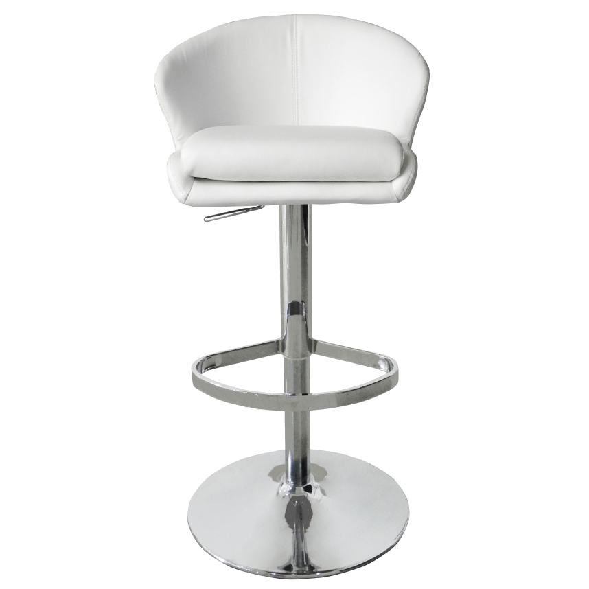 Beverly White Contemporary Adjustable Height Stool