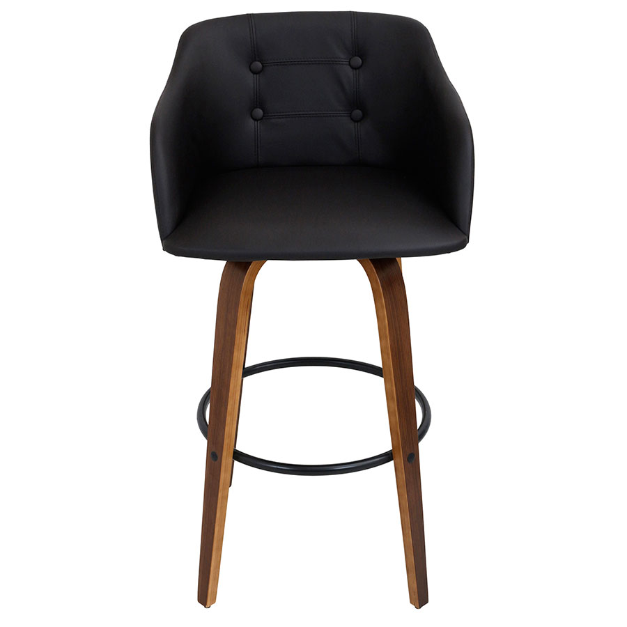 Binary Modern Walnut Bar Stool - Front View