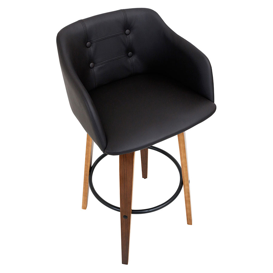 Binary Contemporary Walnut Bar Stool