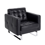 block black leather chair with chrome legs