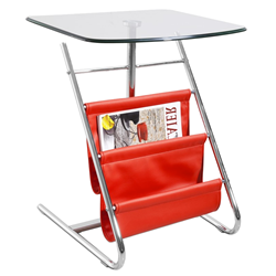 Bob Red Modern Side Table With Magazine Rack
