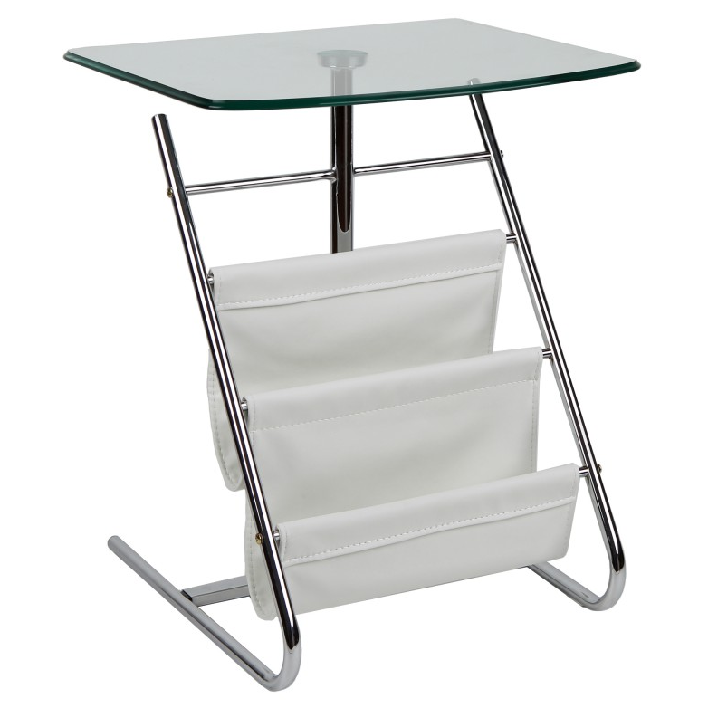 Bob White Modern Side Table With Magazine Rack