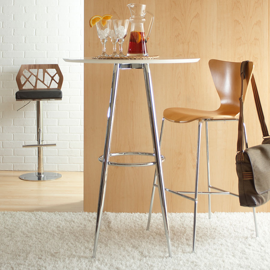 Bristol White Modern Bar Height Table with Matte White Top and Chrome Metal Base Room Shot