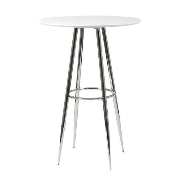 Bristol White Modern Bar Height Table with Matte White Top and Chrome Metal Base