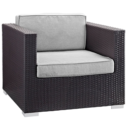 Cabo Modern Espresso and Gray Outdoor Armchair