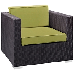 Cabo Modern Espresso and Green Outdoor Armchair