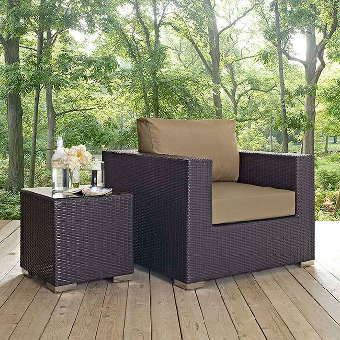 Cabo Modern Espresso + Mocha Armchair and Table