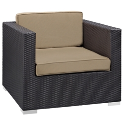 Cabo Modern Espresso and Mocha Outdoor Armchair