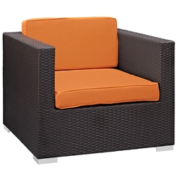 Cabo Modern Espresso and Orange Outdoor Armchair