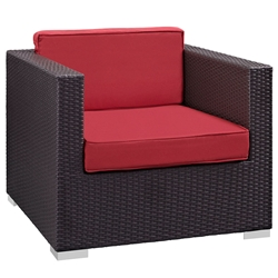 Cabo Modern Espresso and Red Outdoor Armchair