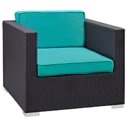 Cabo Modern Espresso and Turquoise Outdoor Armchair