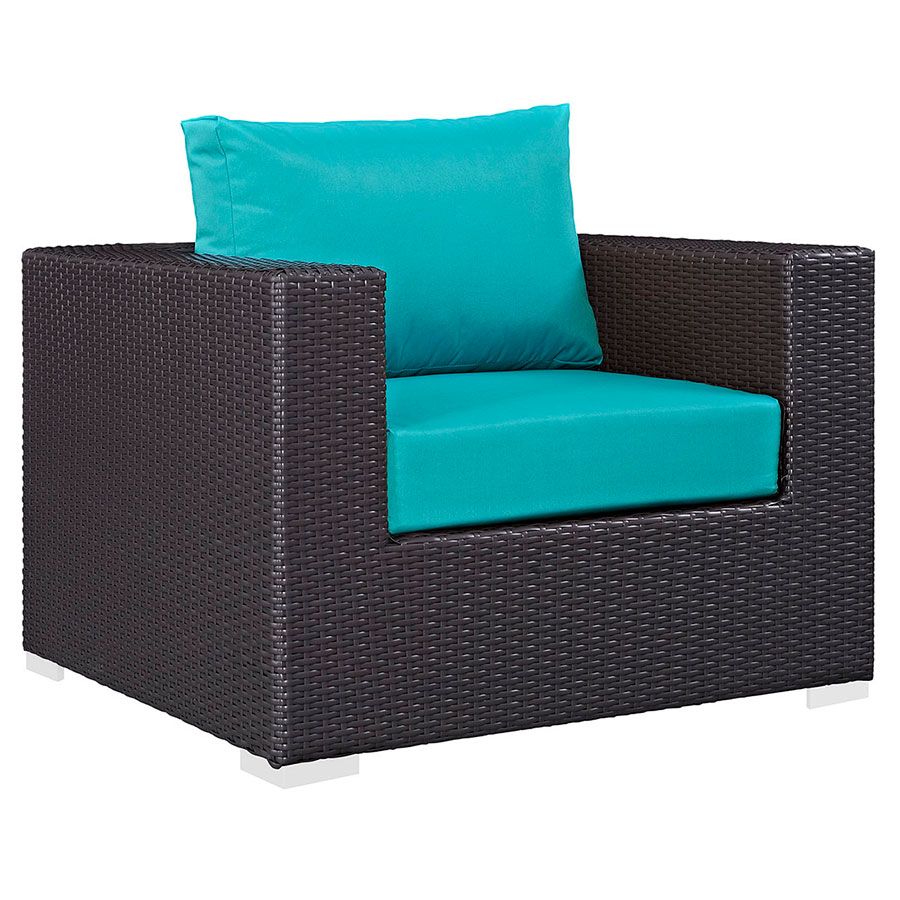 Cabo Modern Espresso + Turquoise Outdoor Armchair