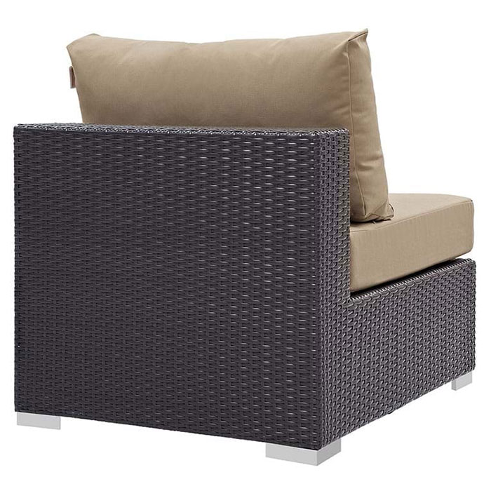 Cabo Modern Espresso + Mocha Outdoor Armless Chair - Back View