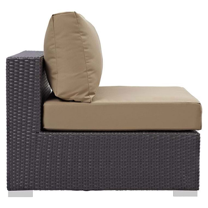 Cabo Modern Espresso + Mocha Outdoor Armless Chair - Side View