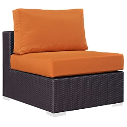 Cabo Modern Espresso and Cabo Outdoor Orange Armless Chair | Eurway Modern Furniture Outdoor Armless Chair