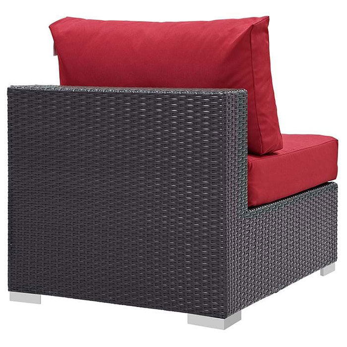 Cabo Modern Espresso and Red Outdoor Armless Chair - Back View