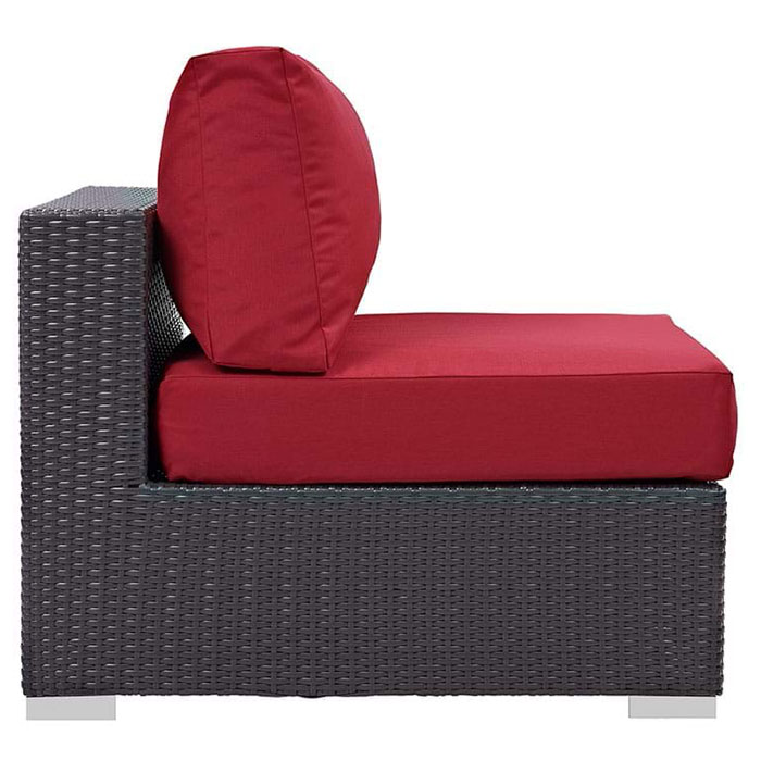 Cabo Modern Espresso and Red Outdoor Armless Chair - Side View