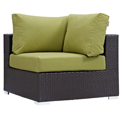 Cabo Modern Espresso and Green Outdoor Corner Chair