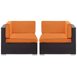 Cabo Modern Espresso and Orange Outdoor Corner Chairs