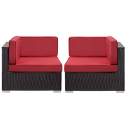 Cabo Modern Espresso and Red Outdoor Corner Chairs
