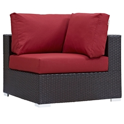 Cabo Modern Espresso and Red Outdoor Corner Chair