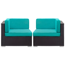Cabo Modern Espresso and Turquoise Outdoor Corner Chairs