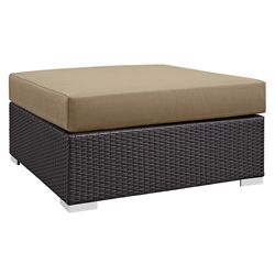Cabo Large Square Outdoor Modern Ottoman - Mocha