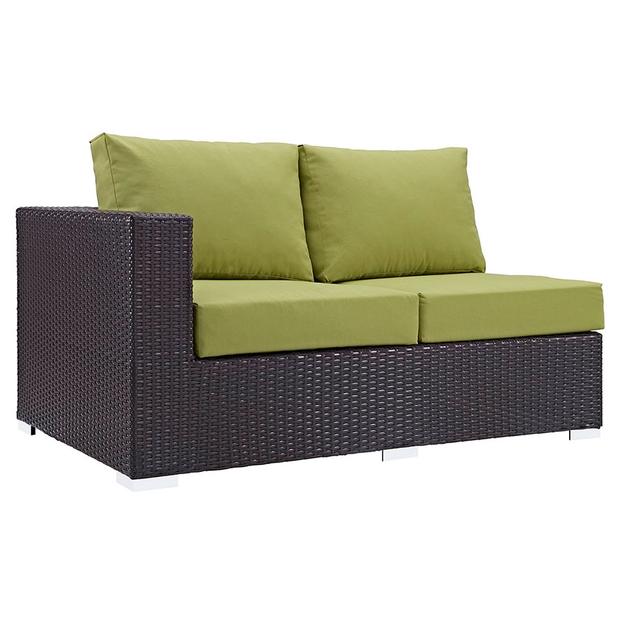 Cabo Modern Outdoor Left Arm Loveseat - Espresso + Green