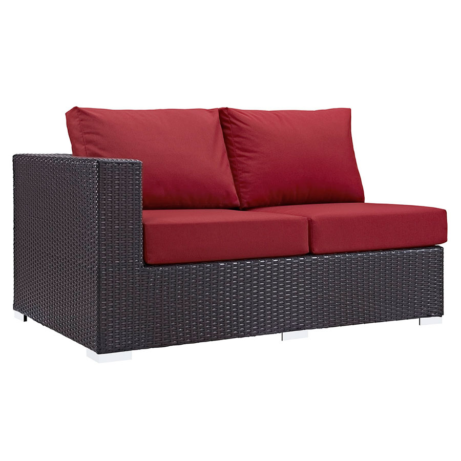 Cabo Modern Outdoor Left Arm Loveseat - Espresso + Red