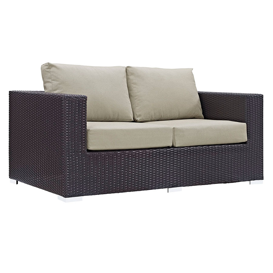 Cabo Modern Espresso and Beige Outdoor Loveseat