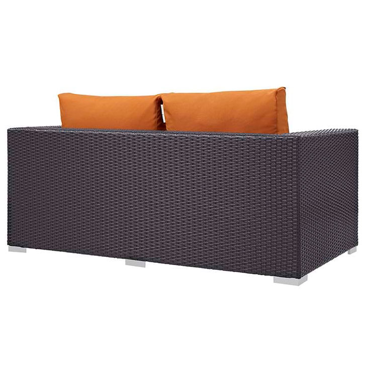 Cabo Modern Espresso and Orange Outdoor Loveseat - Back View